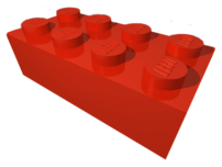 Red 2 × 4 LEGO brick from the LDraw parts libr...